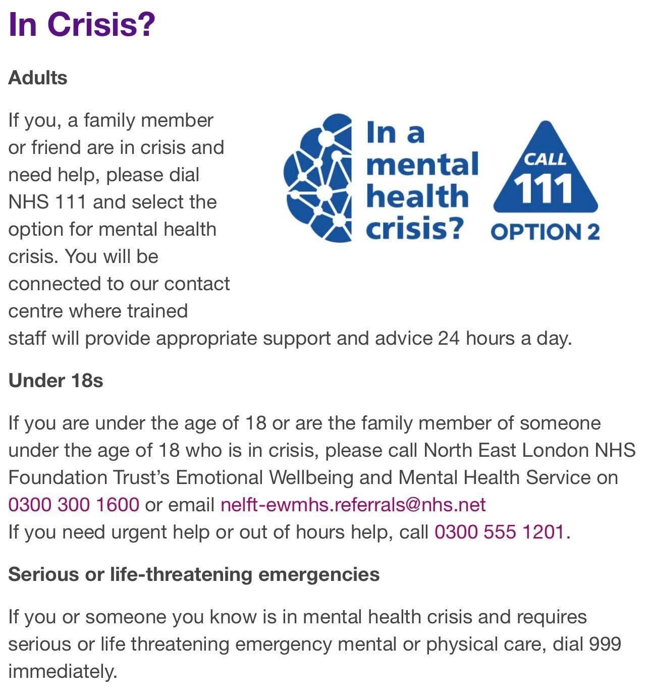 Information showing instructions for dialing 111 and selecting option for MH if you or a friend are in crisis